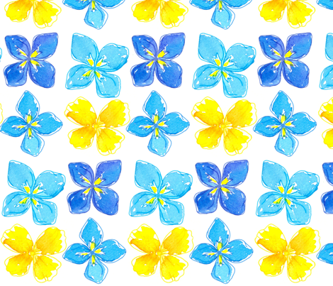 Big Yellow Blue fabric by countrygarden on Spoonflower - custom fabric