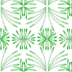 Lush Leafy Tropical - Green on White