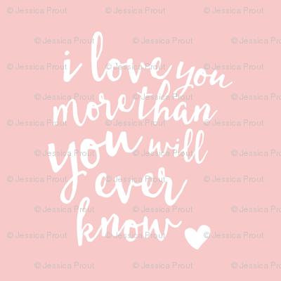 """18"""" I love you more than you will ever know // rose quartz  18"""" square"""