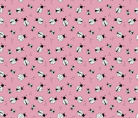 Lovely little Scandinavian style lady bugs cute insects for summer kids fabric pink white fabric by littlesmilemakers on Spoonflower - custom fabric