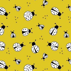 Lovely little Scandinavian style lady bugs cute insects for summer kids fabric mustard yellow