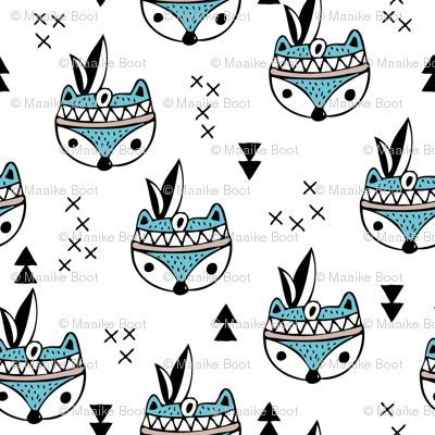 Cool geometric Scandinavian winter style indian summer animals little baby fox blue white