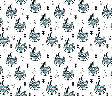 Cool geometric Scandinavian winter style indian summer animals little baby fox blue white fabric by littlesmilemakers on Spoonflower - custom fabric