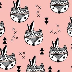 Cool geometric Scandinavian winter style indian summer animals little baby fox peach pink blush