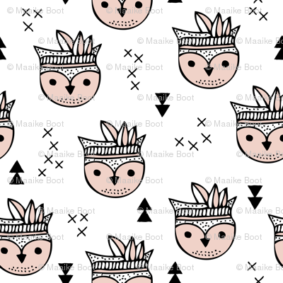 Cool geometric Scandinavian summer style indian summer animals little baby owl
