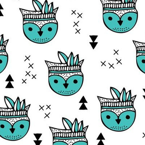 Cool geometric Scandinavian summer style indian winter animals little baby owl blue