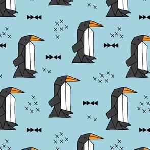 Geometric origami penguins scandinavian style arctic animals blue