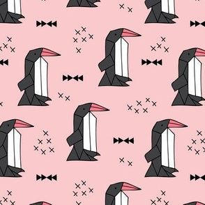 Geometric origami penguins scandinavian style arctic animals pink