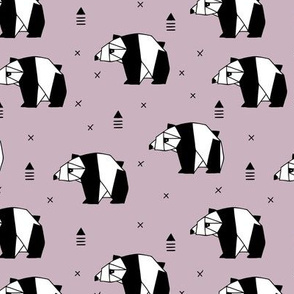 Origami animals cute panda geometric triangle and scandinavian style print black and white lilac girls