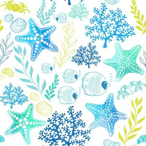 Undersea Treasures - Blue on White
