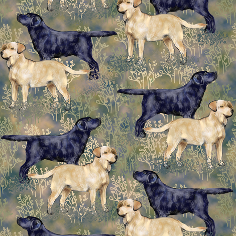 Black and Yellow Labrador Retrievers in Brushy Field fabric by eclectic_house on Spoonflower - custom fabric