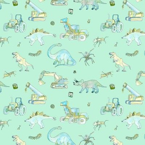 Little Boys Pattern Small Repeat Turquoise Background