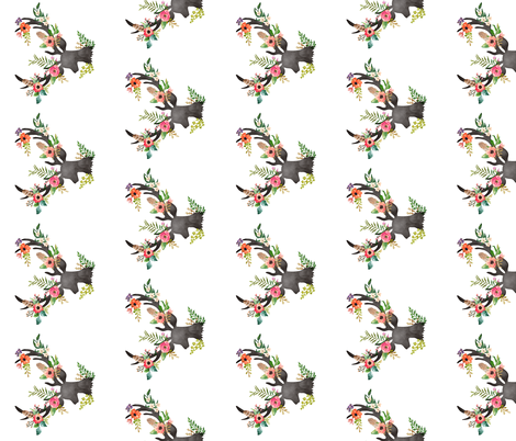 Floral Deer - Mid Size fabric by shopcabin on Spoonflower - custom fabric