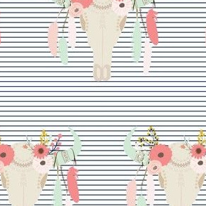 Boho Blooms Floral Feather Tribal  Skull