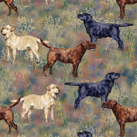 Rchocolate_black_and_yellow_labrador_retrievers_in_wildflower_field_shop_preview
