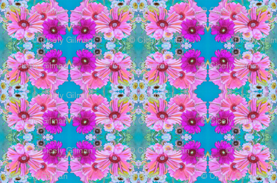 Blue and Fuchsia Art Nouveau Daisies