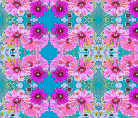 Blue and Fuchsia Art Nouveau Daisies fabric by ciswee on Spoonflower - custom fabric
