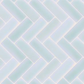 Light Blue Herringbone Tile Backsplash