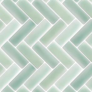 Mint Herringbone Tile Backsplash