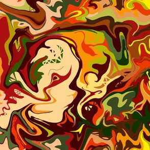 BN11 -  MED - Abstract Marbled Mystery in  Orange - Yellow - Browns - Rust - Beige - Greens