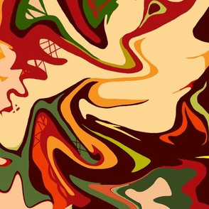 BN11 - LG -  Abstract Marbled Mystery in Orange - Yellow - Browns - Rust - Beige - Greens
