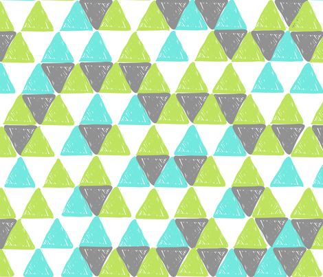 Grey and Green Triangles fabric by dreammachineprints on Spoonflower - custom fabric