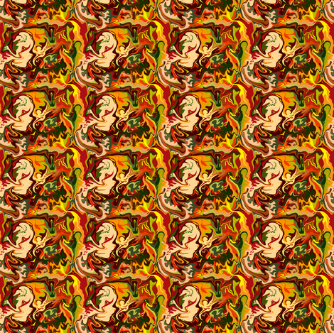BN11 -  Tiny - Abstract Marbled Mystery in Orange - Yellow - Browns - Rust - Beige - Greens fabric by maryyx on Spoonflower - custom fabric