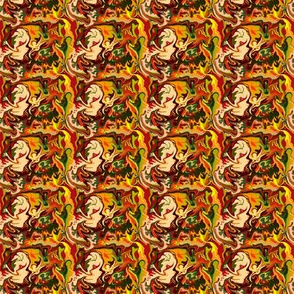 BN11 -  Abstract Marbled Mystery in Orange - Yellow - Browns - Rust - Beige - Greens - Tiny Scale