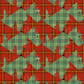 Tessellating Christmas Plaid Scottish Terriers