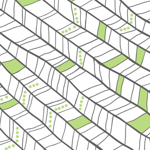 Green and White Diagonal Plumes