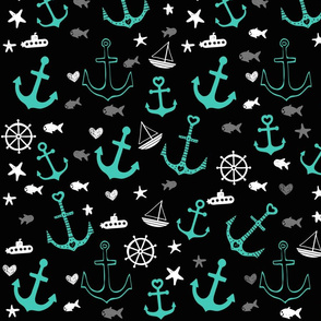 Black and Aqua Multi Anchors