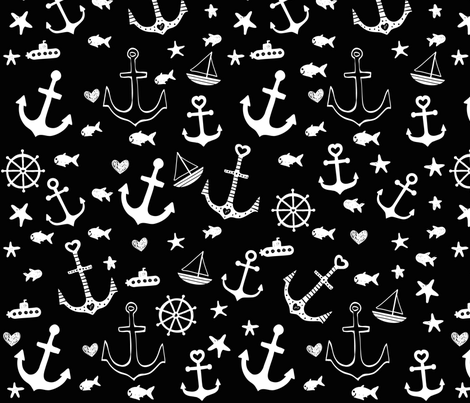 Black and White Multi Anchors fabric by dreammachineprints on Spoonflower - custom fabric