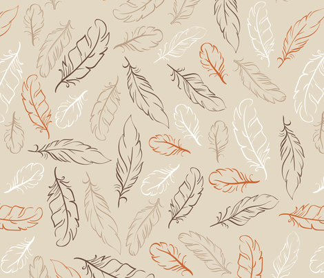 Multi Feathers on Tan fabric by dreammachineprints on Spoonflower - custom fabric