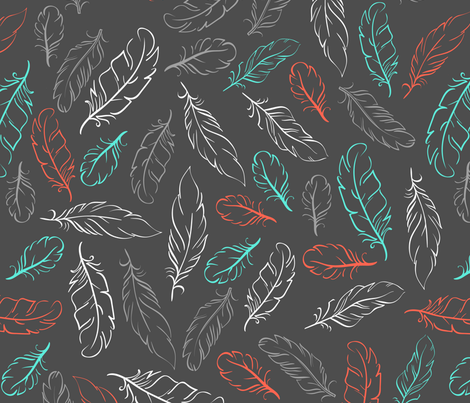 Multi Feathers on Slate fabric by dreammachineprints on Spoonflower - custom fabric