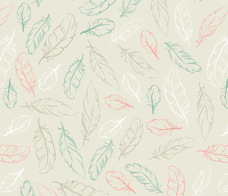 Multi Feathers on Beige fabric by dreammachineprints on Spoonflower - custom fabric