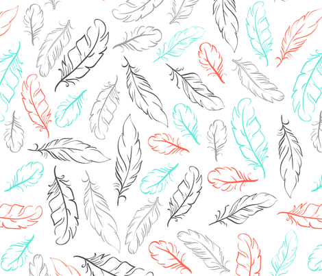 Multi Feathers on White fabric by dreammachineprints on Spoonflower - custom fabric
