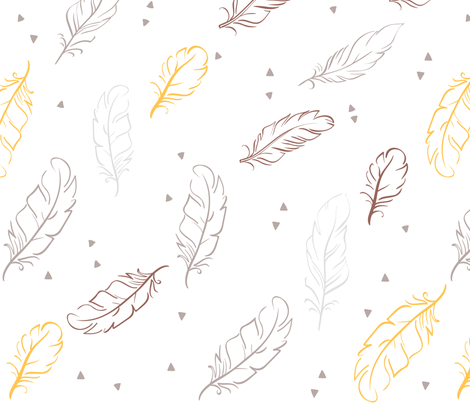 Maroon and Gold Feathers fabric by dreammachineprints on Spoonflower - custom fabric