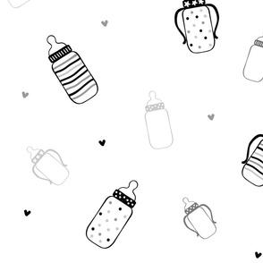Black and Grey Polka Dot Bottles