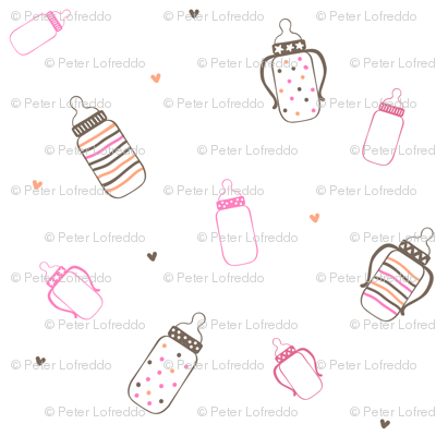 Pink and Brown Polka Dot Bottles