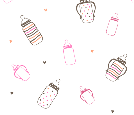 Pink and Brown Polka Dot Bottles fabric by dreammachineprints on Spoonflower - custom fabric