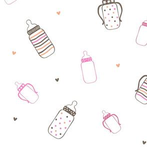 Pink and Brown Polka Dot Bottles