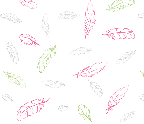 Multi Pink and Green Feathers fabric by dreammachineprints on Spoonflower - custom fabric