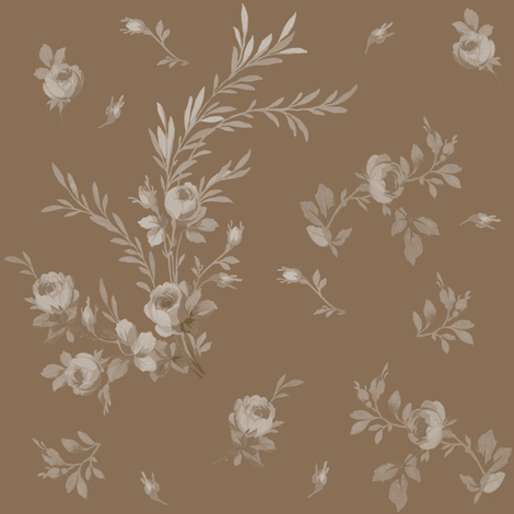 Theodora Floral brown sugar fabric by lilyoake on Spoonflower - custom fabric