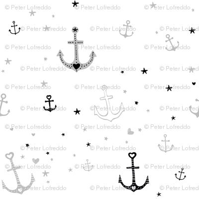 Grey and Black Anchors and Hearts