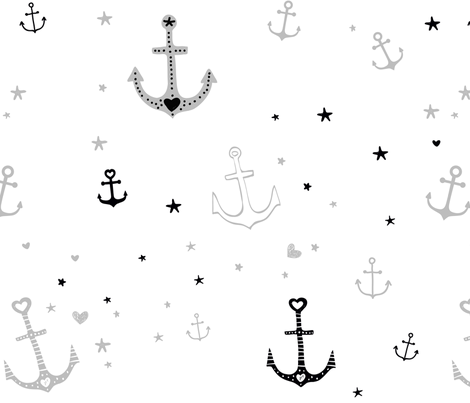 Grey and Black Anchors and Hearts fabric by dreammachineprints on Spoonflower - custom fabric