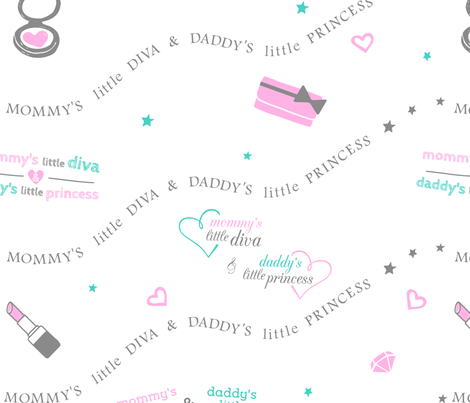 Pink Diva and Princess fabric by dreammachineprints on Spoonflower - custom fabric