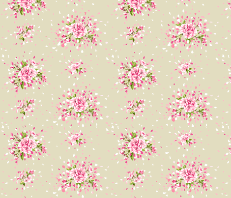 Tan Cherry Blossoms fabric by dreammachineprints on Spoonflower - custom fabric