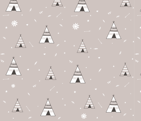 Small Tan Teepees fabric by dreammachineprints on Spoonflower - custom fabric