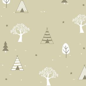Tan and White Teepee and Trees