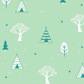 Mint and White Teepee and Trees